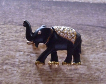 Vintage Elephant with Trunk Up Brooch