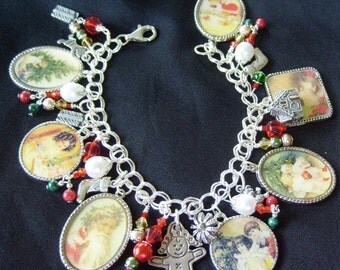 Christmas is for Kids Charm Bracelet Sterling Silver