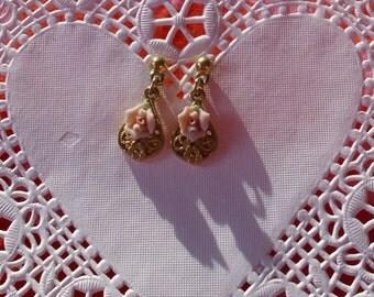Vintage Pink Rosebud Earrings