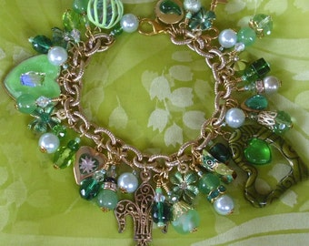 Fleur-de-Lis, Hearts and Clovers Green Charm Bracelet ooak