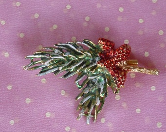 Vintage Pine Cone Branch Pin Brooch