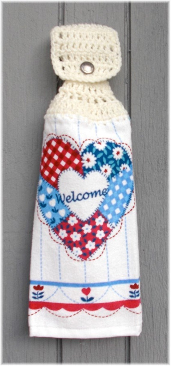 Hanging Kitchen Towel Welcome Heart