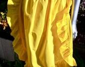Vintage Linen Apron Edwardian Parlormaid Ruffles Yellow