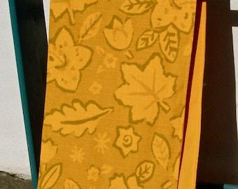 Fauve Decorator Fabric LONG  71 INCH Table Runner Fringed Silk Barkcloth Tangerine