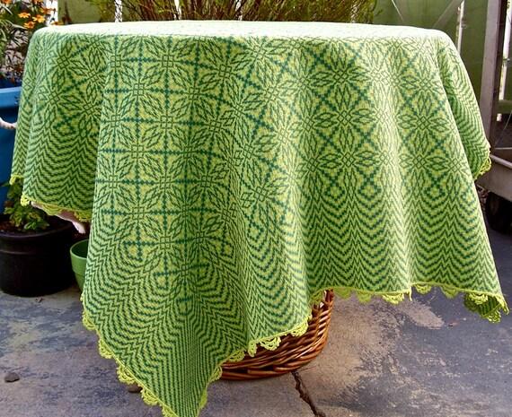 Vintage GREEN Tablecloth Jacquard OPTICAL ORIGAMI 40x 46