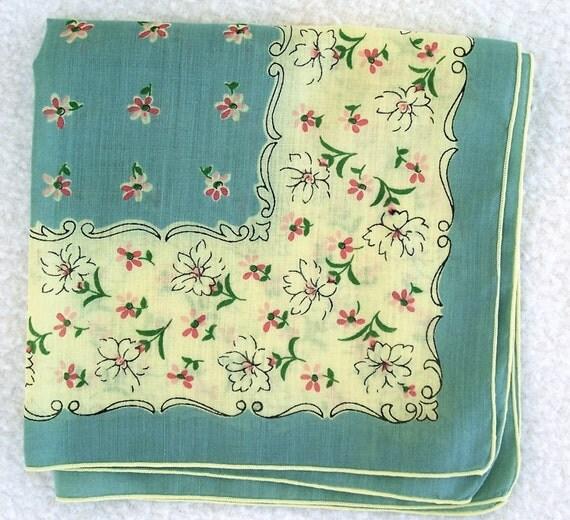 Vintage Mid Century Floral Hanky Posies