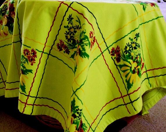 Vintage Tablecloth Retro Wilendur Look Cotton Flower Block