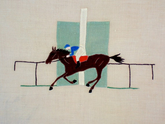 Vintage Marghab STYLE Table Linen Horse Race Centerpiece Tray Cloth