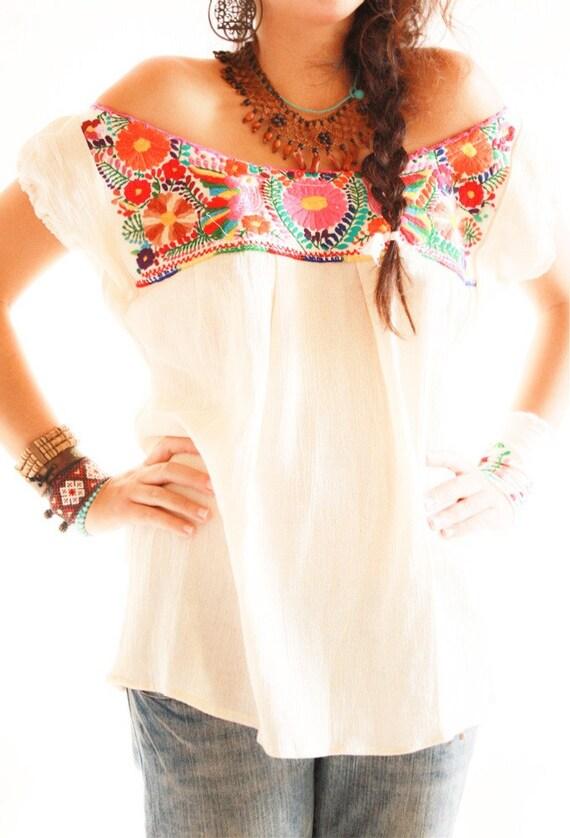 Los Pajaritos ganchillo del hombro mini vestido mexicano bordado blusa