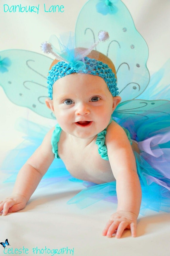 Purple and turquoise Baby Tutu set, JADE BUTTERFLY for Halloween portraits or baby's birthday, choose any size up to 24months