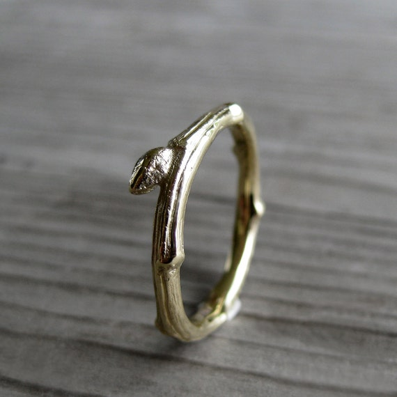 Twig Wedding Band with Bud: Yellow, Rose, or White Gold; 14k or 18k