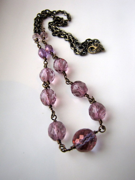 Purple Glass Necklace, Beaded Necklace, Hopeless Romantic Collection, Antiqued Brass Necklace, Romantic Lilac