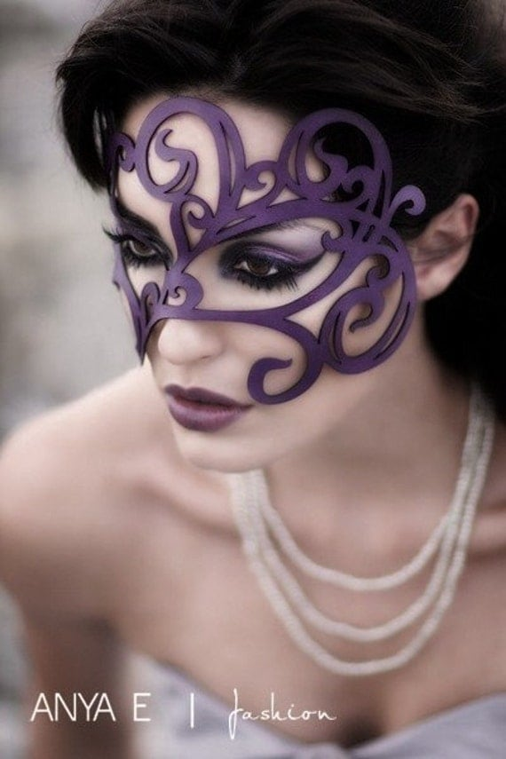 Reserved for Sarah Haynes -- Swirly leather mask in violet - Express Mail shipping