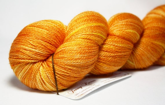 Alma--hand dyed lace weight yarn, merino and silk, (875yds/100gm)