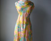 vintage 60s painterly // water colored dress