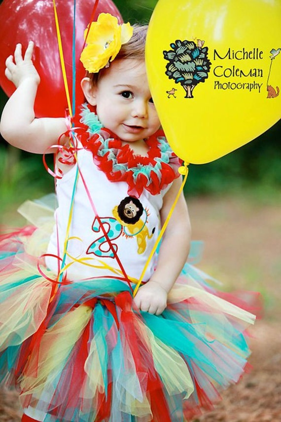 Big Top Sweetie Birthday Tutu READY2SHIP 18 waist 9 length Circus Carnival Party fits most 1 to 2 yr olds