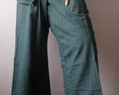 Striped Deep Teal Cotton THAI Fisherman Wrap Pants PERFECT for All Size