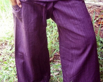 Striped VIOLET CoTToN THAI Fisherman Wrap Pants PERFECT for All SiZe