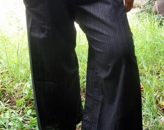 Striped super Black Cotton THAI Fisherman Wrap Pants PerfecT for ALL SIZE