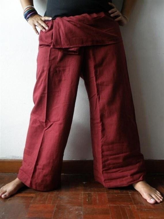CRimSoN  Cotton THAI Fisherman Wrap Pants Perfect for all SIZE