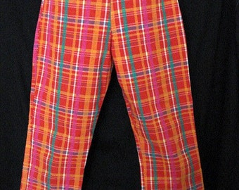 plaid pants, quintessential cool late 80s, pink, red, orange, green, yellow, great fit, straight leg, high waist, size 6