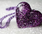 Resin jewelry purple necklace big glitter heart handcrafted pendant necklacehigh fashion accessory isewcute