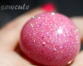 Pink Resin Cocktail Ring - Out of this World Giant Pink Sparkly Glitter Modern Bubble Dome Ring