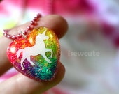 "Magical Unicorn Glitter Necklace, sparkly heart resin glitter pendant ""chain included"" handmade unicorn necklace by isewcute"