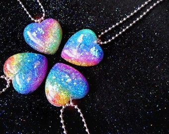 Somewhere Over the Rainbow Glitter Heart Resin Necklace ...handmade by isewcute