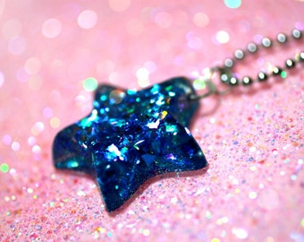 When Stars and Opals Fall in Love.... Spectacular Blue Sparkle Resin Star Necklace ...by isewcute