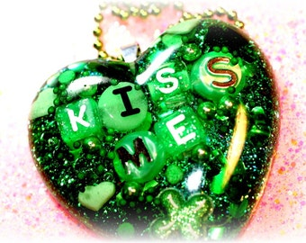 Kiss Me I'm Irish, St. Patrick's Day Jewelry, Green Heart Pendant, One of a Kind St. Patrick's Gift for Her, Emerald Green Heart by isewcute