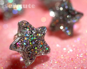 Resin Star Ring - Catch a Falling Star Like a Diamond in the sky - resin silver glitter star adjustable ring - handmade by isewcute