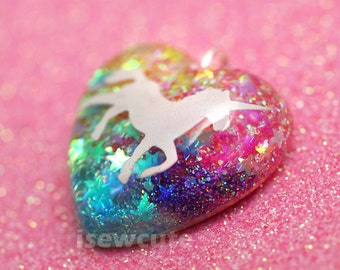 Unicorns & Rainbows Necklace... sparkly heart resin glitter pendant necklace with pink chain included by isewcute