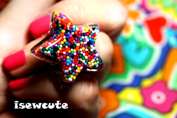 Sprinkles Star Candy Ring - Catch a Falling Star...Right Through A Rainbow ...wearable resin sprinkles star adjustable ring ...by isewcute