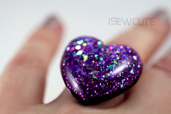jewelry resin ring purple glitter out of this world sparkly