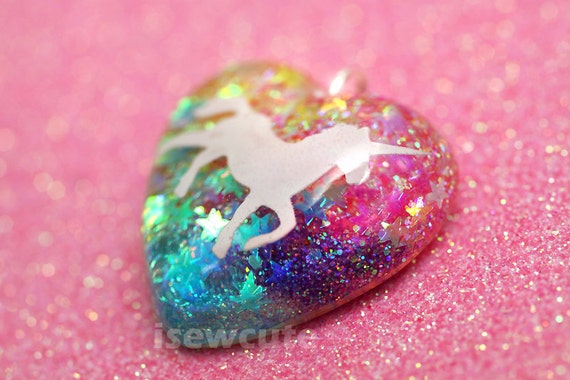 Unicorn Necklace Rainbow Color Pendant Necklace... sparkly glitter resin heart-shaped girls necklace with pink chain included by isewcute