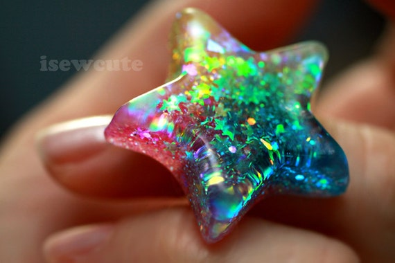 Bright Rainbow Star Ring ...Catch a Falling Star Like Mermaid Treasures ...rainbow glitter resin jewelry handmade by isewcute