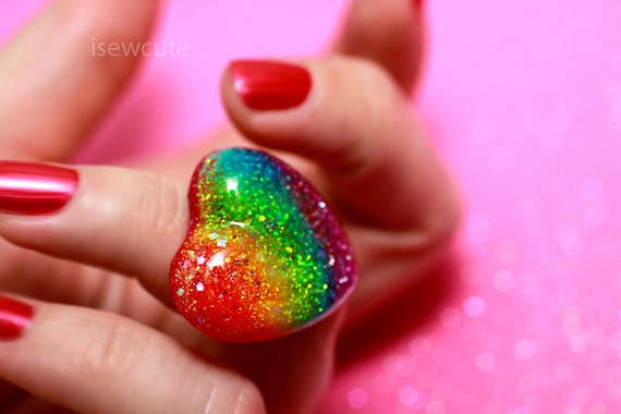 Reserved for Colleen, Summer in Australia Neon Electric Bold Color Resin Heart Adjustable Summer Fun Heart Shape Ring