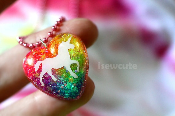"""Unicorn Neon Rainbow Glitter Jewelry... a sparkly heart resin glitter pendant necklace """"pink chain included"""" by isewcute"""