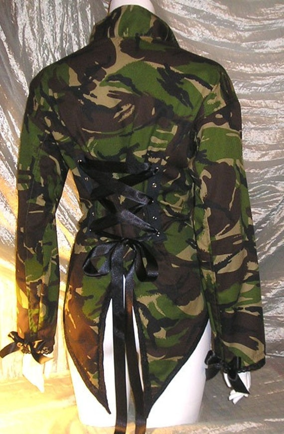 Camouflage Corset Jacket Tail Coat Military Army Camo Steampunk Cosplay Custom