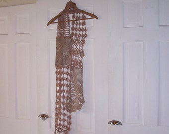 Chocolate  Brown Vintage Crochet Scarf