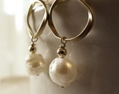 Simple gemstone jewelry beautiful druzy pearls circle dangle earrings goldfilled free shipping in the US simple and elegant
