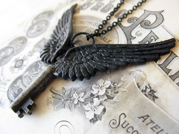 Steampunk necklace for men large black wings extra large key mens necklace antique adorned key jewelry
