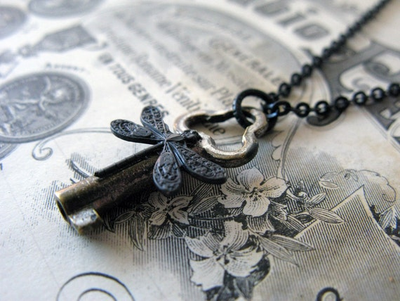 Steampunk necklace, vintage skeleton key, Adorned key necklace with dragonfly, free shipping for her, for him