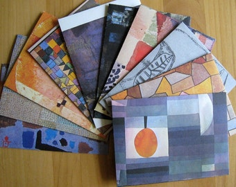 Recycled Envelopes Paul Klee, 4.5 x 6, set of 10 / Recycled Old Art Book by PrairiePeasant