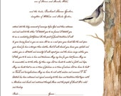 Nuthatch Giclee Printed Marriage Certificate