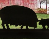 Family Of Pigs Handmade Wood Decorative Display Silhouette - SAFP001