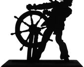 Helmsman Battling the Weather Handmade Wood Display Silhouette Decoration  sntl003
