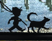Boy and Dog Going Fishing Handmade Wood Display Silhouette Decoration  spth002.