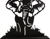 African Elephant Up Close Decorative Wood Display Silhouette - SAWA004